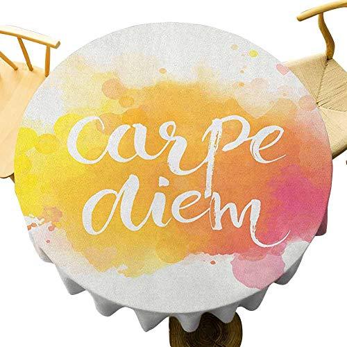 VICWOWONE - Mantel redondo de 35 pulgadas, estilo acuarela con Carpe Diem aprovechar el día disfruta del momento de vacaciones decoración de caléndula amarilla rosa