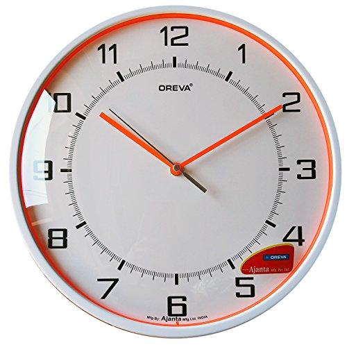 Oreva Plastic Glass Wall Clock (30 x 30 cm, Red)
