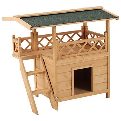 Pawhut Katzenhaus mit Asphaltdach, 2-stöckig, Katzenhütte mit Balkon, Katzenvilla mit Treppe, Massivholz, Natur, 77 x 50 x 73 cm
