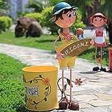 DSDD Cubos de Basura al Aire Libre Muñeca de Dibujos Animados Jardín Jardín Villa Niños Artesanía Adornos Personaje Muebles al Aire Libre Bote de Basura 01