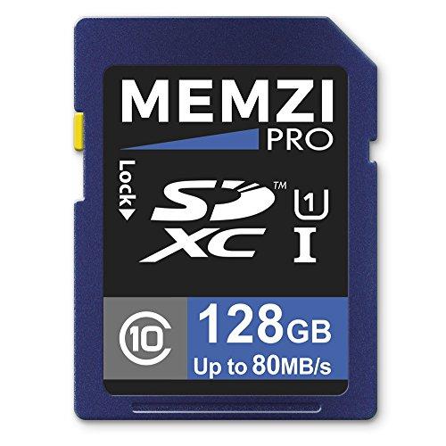 Memzi Pro 128GB Clase 1080MB/s tarjeta de memoria SDXC para Panasonic hc-v180, hc-v180K, HC-V130, HC-V160hc-v130ef-k, HC-V130EB-K, HC-V110, HC-V100, HC-V100M, HC-V10, videocámaras digitales
