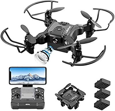 4DRC Mini Drone with 720p Camera for Kids and Adults, FPV Drone Beginners RC Foldable Live Video Quadcopter,App Control,3D Flips and Headless Mode,One Key Return,Altitude Hold,3 Modular Batteries