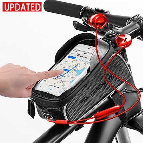 Oulakary Fahrrad Rahmentasche, wasserdichte Fahrradtasche Oberrohrtasche Fahrrad Handytasche mit Kopfhörerloch TPU Touchscreen für 6 Zoll Smartphone iPhone für MTB, Mountainbike, Rennrad