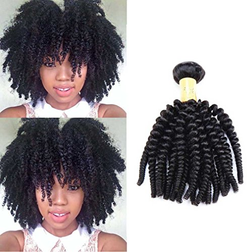 Brazilian Kinky Curly Unprocessed Virgin Brazilian Curly Weaves Afro Kinky Curly Human Hair Extensions Natural Black Color 100g/Bundle 10'