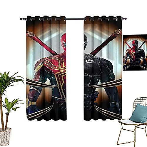 Rideaux de chambre occultants Spiderman rouge et noir sur toile - 213,4 x 160 cm