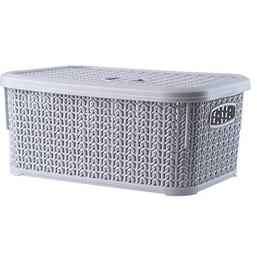 KADAX Aufbewahrungskorb mit Deckel, 6L, Aufbewahrungskiste aus Kunststoff, rechteckiger Korb für Aufbewahrung, Bad, Küche, Kinderzimmer, Aufbewahrungsbehälter, Aufbewahrungsbox (grau)