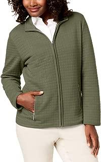Karen Scott Women's Quilted Fleece Jacket, Olive Sprig, X-Small