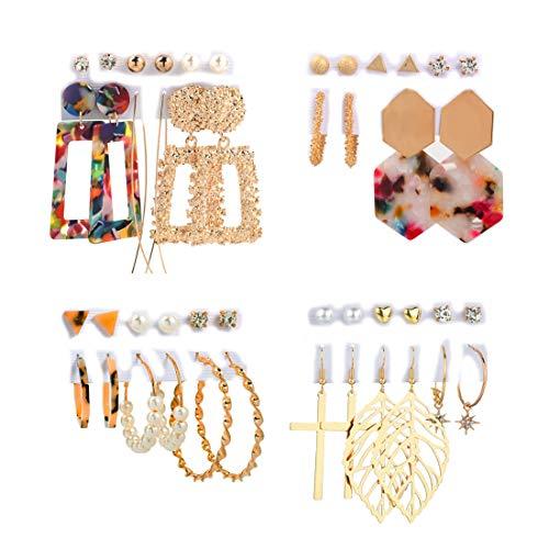LYLAB Fashion Earrings Set for Women Girls, Pearl Earings Tassel Earrings Layered Long Thread Ball Dangle Earrings Stud Earring Bohemian Tiered Tassel Drop Earrings for Gifts(23 Pairs)