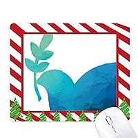 青いオリーブの枝の反戦争のパターン ゴムクリスマスキャンディマウスパッド