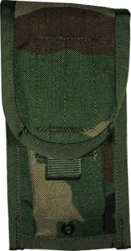 Fire Force MOLLE II US Military Army M4/M16 Double Mag Ammo Pouch, Made in USA (Woodland Camo)