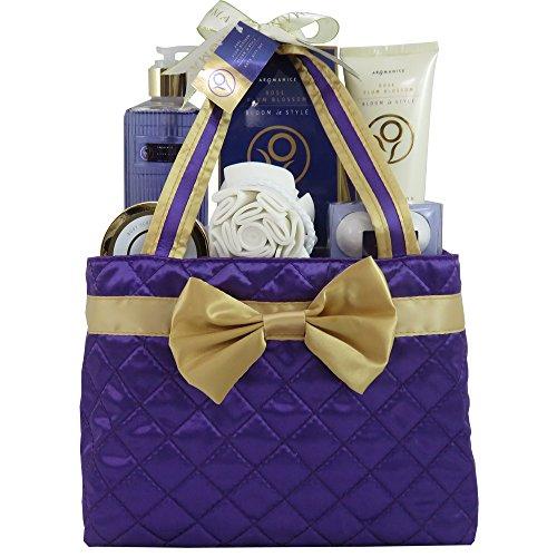 GLoss - Coffret De Bain Pour Femme - Sac de bain violet et doré - Collection Aromanice - Rose et Prune