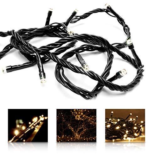 LED Universum Chaîne lumineuse à LED blanc chaud - longueur 16m, 200 LED, câble d'alimentation de 3m (résistant aux éclaboussures, pour intérieur et extérieur, Noël, fête, jardin, terrasse)