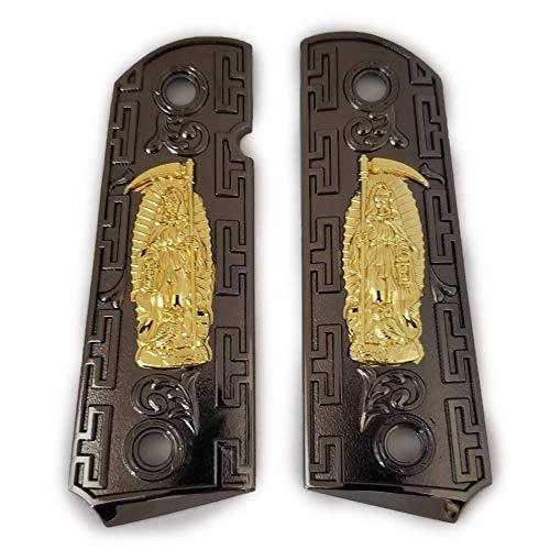 Tek_Tactical Replacement 1911 Full Size Grips for Kimber, Colt, Rock Island, Springfield, Taurus, & Clones - Grim Reaper Black Gold Grips