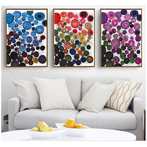 Giclée Moderne kreative Farbkreis Leinwand Gemälde Bilder Wandkunst Leinwand für Wohnzimmer Dekoration Kunst Poster Bild 3x40x60cm kein Rahmen