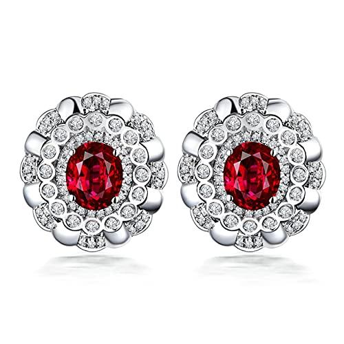 KnSam Pendientes de oro blanco de 18 quilates para mujer, con diamantes de rubí de 1 ct