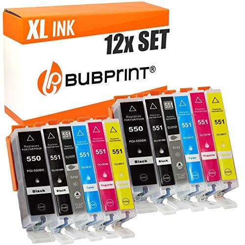 12 Bubprint Druckerpatronen kompatibel für Canon PGI-550 CLI-551 XL für Pixma IP7220 IP7240 IP8700 IP8720 IP8750 MG6300 MG6350 MG6420 MG7100 MG7120 MG7150 MG7500 MG7550 Multipack