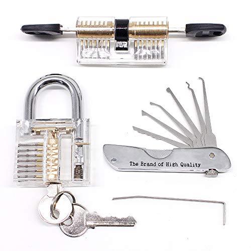 Dietrich-Sets, tragbar, Premium-Übungswerkzeug mit Acryl-transparenten Übungs-Vorhängeschloss für Lockpicking, Anleitung für Anfänger und Schlosser-Training