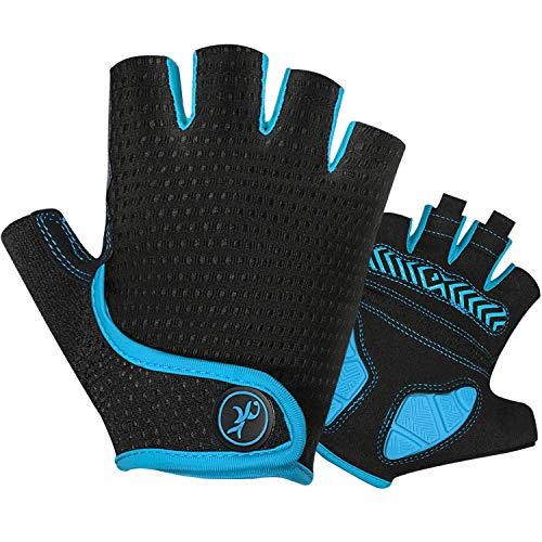 MOREOK Gel Road Cycling Gloves Bike Gloves- for Cycling,Riding,Running,Outdoor Sports-for Men/Women/Junior Blue-S
