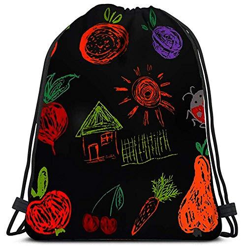 Dingjiakemao Reisen Rucksack Taschen Board Aprikose Orange Pflaume Rettich Rote Beete Haus Zaun Sun Ladybug Sports Gym Bag