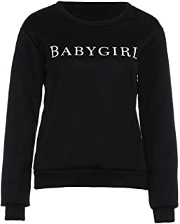 Women's Casual Letter Print Round Neck Long Sleeve Sweatshirt Pullover T Shirt Blouses Tops