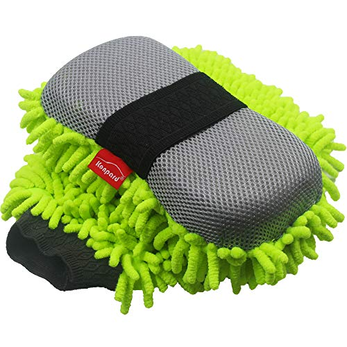 Konpard Ultimate Car Wash Mitt - 2 Pack - Premium Chenille Microfiber Wash Mitt - Wash Sponge - Wash Glove - Lint Free - Scratch Free(Green)