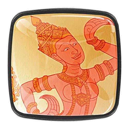Indische Illustration Kommode Kristallknäufe – Glaskristall Schubladenknöpfe Ziehgriffe Schrankgriff für Zuhause, Küche, Kleiderschrank, Schrank