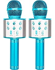 YONHAN 2-Pack Wireless Bluetooth Karaoke Microphone for Kids, Portable Handheld Mic Speaker Music Player Recorder for Christmas, Birthday, Home Party More (Pink)