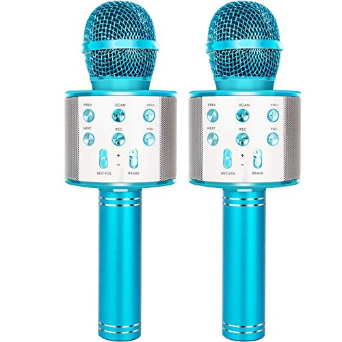 YONHAN 2-Pack Wireless Bluetooth Karaoke Microphone, Portable Handheld Mic Speaker Music Player Recorder for Christmas, Birthday, Home Party More - Blue