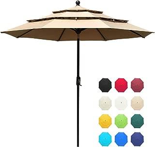 EliteShade Sunbrella 9Ft 3 Tiers Market Umbrella Patio Outdoor Table Umbrella with Ventilation and 10 Years Non-Fading Guarantee (Sunbrella Heather Beige)