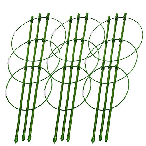 VINASE 3 PACK Garden Trellis, Garden Trellis Plant Support Cage with 3 Adjustable Rings for Potted Climbing Plants, Vegtables, Flowers (45CM)