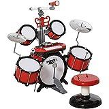 HOMCOM Set Batteria per Bambini con Strumenti Musicali, Effetti Sonori e Microfono Giocattolo, 77.5 x 40 x 76.5cm, Rosso