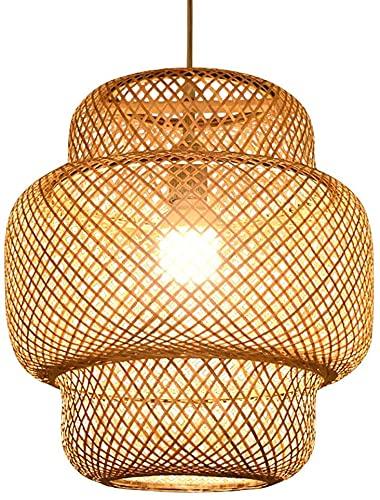 Lámpara De Ratán Lámpara De Bambú Lámpara De Chandelera De Estilo Simple Luces Colgantes Creativas Lámparas Colgantes Japonesas E27 Titular De La Lámpara Para Comedor Sala De Estar Balcón Hotel Patio