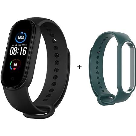 Xiaomi Mi Band 5 Fitness Tracker, pantalla AMOLED de 1,1 pulgadas, carga magnética para la salud de las mujeres, modo deportivo 24 horas, monitor de sueño de frecuencia cardíaca, 50 m, impermeable, hasta 14 días de duración de la batería (banda + correa azulada)
