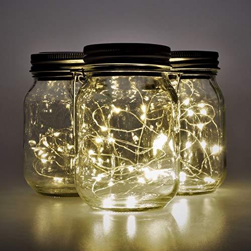 Gadgy ® Solarglas Einmachglas Set Fairy Lights Klein| (3 Stück) USB Wiederaudladbar | Mit USB Kabel | 20 Warmweiße LED's | Solar Licht Glas Lampe Außen Garten Laterne