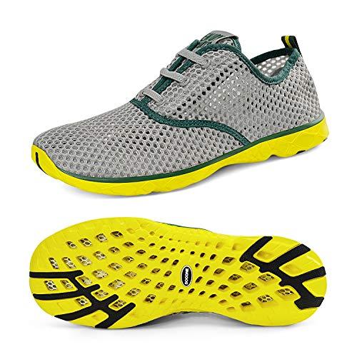 [Feetmat] スニーカー レディース 室内 スポーツ トレーニングシューズ 軽量 通気 フィットネスシューズ S8859 グレー グリーン 25