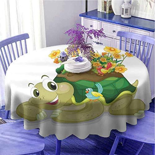 Mantel redondo de reptiles ligero divertido floral tortuga hablando con coloridos pájaros tarimeando tortuga Ninja decoración del hogar secado rápido diámetro 55 pulgadas multi