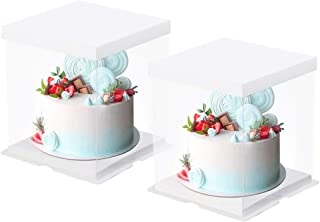 Transparent Cake Box, 2 Pcs Clear Plastic Cake Boxes Bakery Packaging Carriers with Pre-folded Lid Baking Cookie Display P...