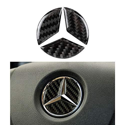 VDARK Kompatible Lenkrad-Logo-Aufkleber für Mercedes Benz Zubehörteile Mercedes A Klasse B C E S CLA GLA GLC GLE Klasse W204 W212 Carbonfaser-Abziehbilder Kappen Innendekorationen Schwarz 45mm