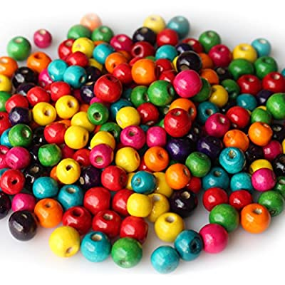 400 PCS Assorted Color Round Wood Beads Wooden Spacer Beads for DIY Jewelry Making, 10mm and 12mm