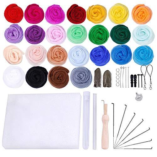 WDDH - Kit de fieltro para tejer agujas, 25 colores, hilo de fibra de lana, kit de iniciación para fieltro, herramientas de fieltro, suministros de lana para...