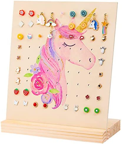 Basumee Earring Holder Stand Wood Jewelry Display Rack for Girls Earrings Storage Organizer product image