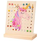 Basumee Earring Holder Stand Wood Jewelry Display Rack for Girls Earrings Storage Organizer with 81 Holes, Unicorn