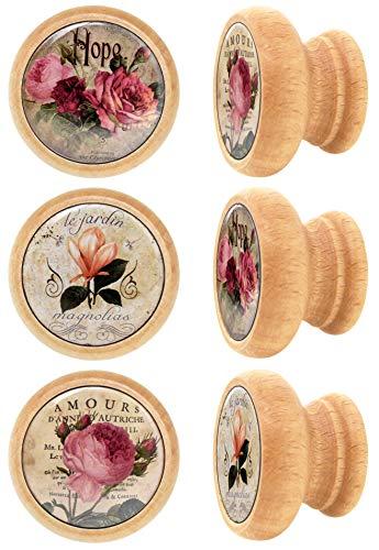 Lashuma Schrankknöpfe Rund, 6 Stück Schubladenknaufe, Griff Druck: Blumen, Robuste Möbelknöpfe Holz Ø 4 cm