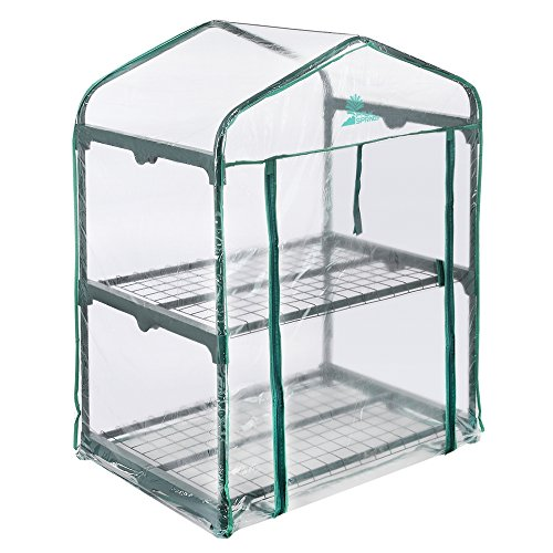 Palm Springs 2 -Tier Mini Greenhouse With Cover And Roll-up Zipper Door