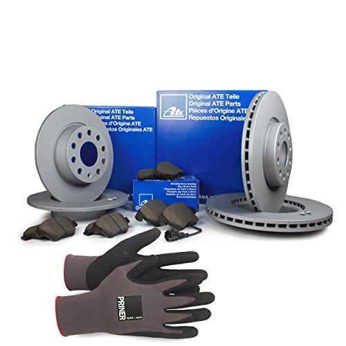 Inspektionspaket ATE Bremsen Set inkl. Bremsscheiben und Bremsbeläge für vorne Ø 280 mm und hinten Ø 230 mm enthalten, 100% passend für Ihr Fahrzeug, inkl. Priner Montagehandschuhe, AN159
