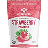 Nature Restore USDA Certified Organic Freeze Dried Strawberry Powder, 8 Ounces, Non GMO, Gluten Free, Vegan