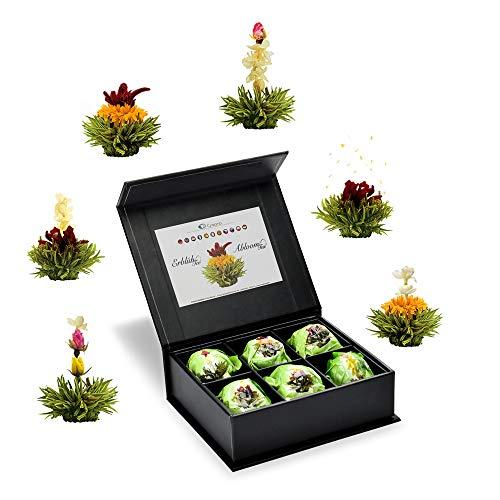 Creano 6 Teeblumen Geschenkbox grüner Tee, in edeler Magnetbox mit Siberberprägung, 6 verschiedene Sorten, Geschenk zum Muttertag