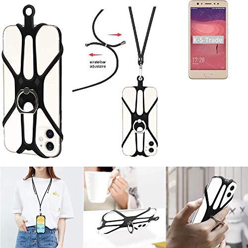 K-S-Trade 3in1 Handykette Handyband Handykordel Halsband Smartphone-Ring Handy-Ring Für Coolpad Note 6 Fingerhalterung Handyring Tischständer Umhängeband Lanyard Abnehmbar, Schwarz 1x