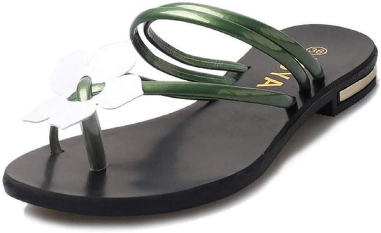 Flip Flops Sandals for Women Bohemia Lady Flower Weave Sandals Beach Peep-Toe Flip Flops Slippers