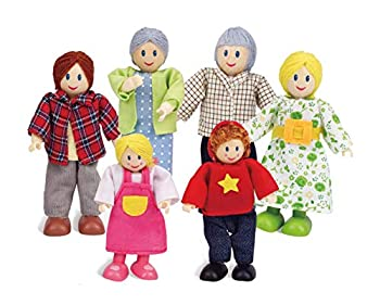 Happy Family Dollhouse Set by Hape |Award Winning Doll Family Set Unique Accessory for Kid's Wooden Dolls House Imaginative Play Toy 6 Family Figures Adults 4.3  and Kids 3.5  Multicolor